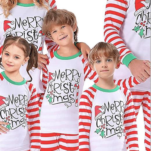 Merry Christmas Striped Family Holiday Pajamas