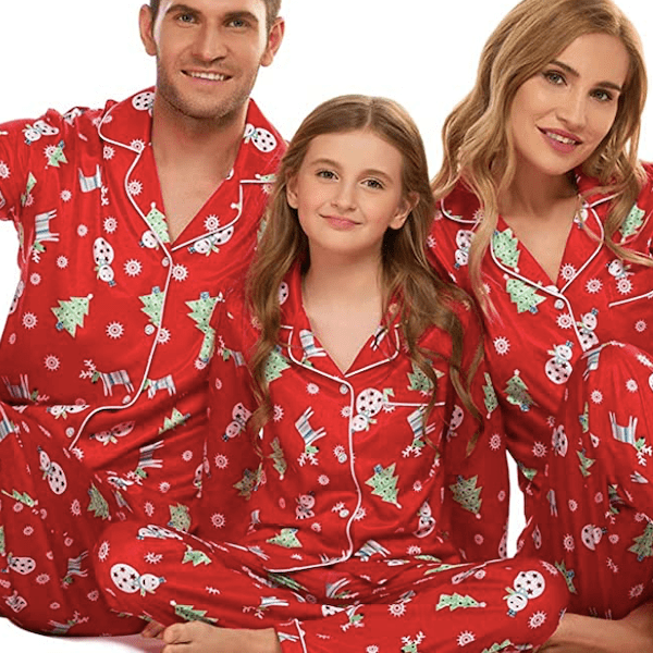 Tree, Snowman & Deer Red Family Matching Christmas PJs