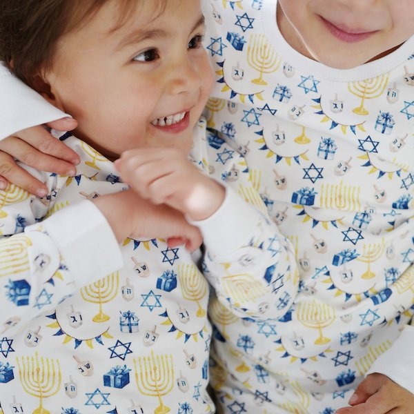 Organic Cotton Classic Hanukkah Icons Matching Family Pajamas