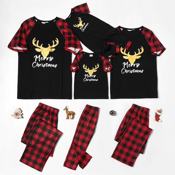 Deer Checked Short Sleeve Family Matching Christmas  PJs