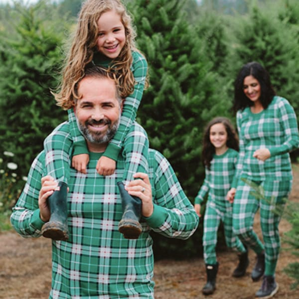 Family Matching Green Harvest Plaid Organic Cotton Christmas Pajamas