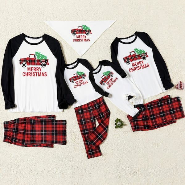 Family Matching Plaid Truck Carrying Christmas Tree Pajamas