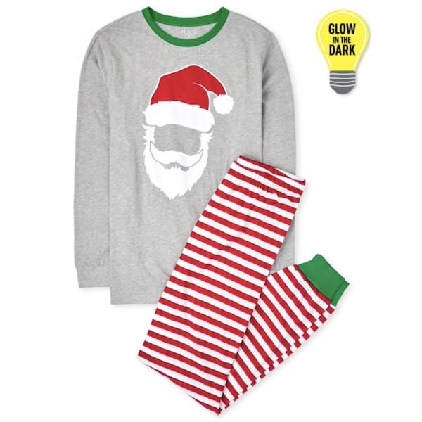 Matching Family Glow Santa Striped Cotton Pajamas