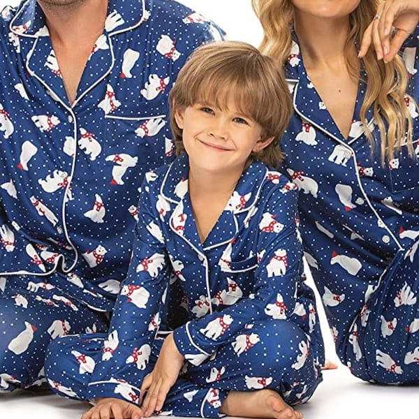 Navy Polar Bear Family Matching Holiday Pajamas