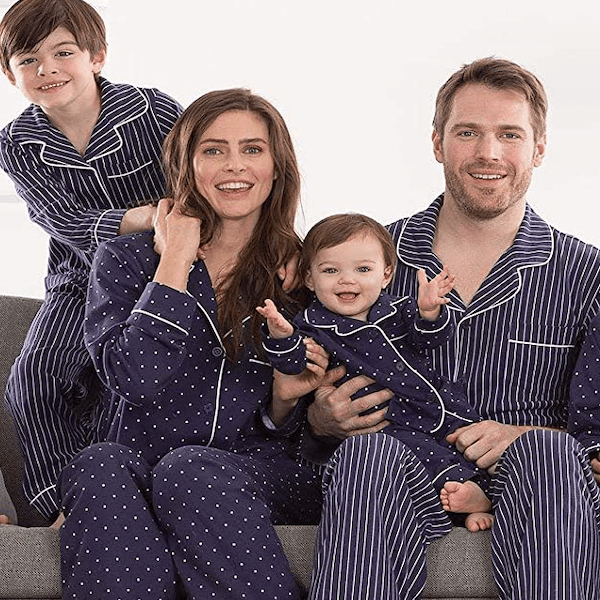 Navy Stripes & Dots Family Matching Winter Pajamas