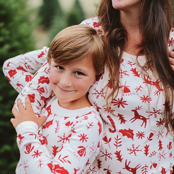Scandinavian Style Candy Cane Family Holiday Pajamas