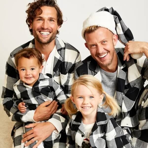 Black Plaid Family Holiday Pajamas