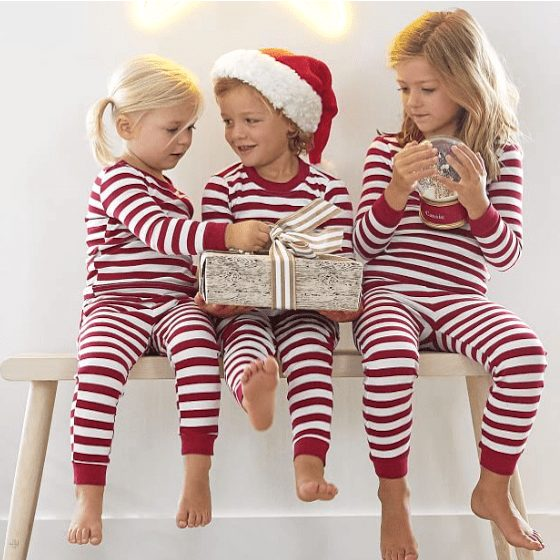 Classic Red Striped Family Christmas PJs