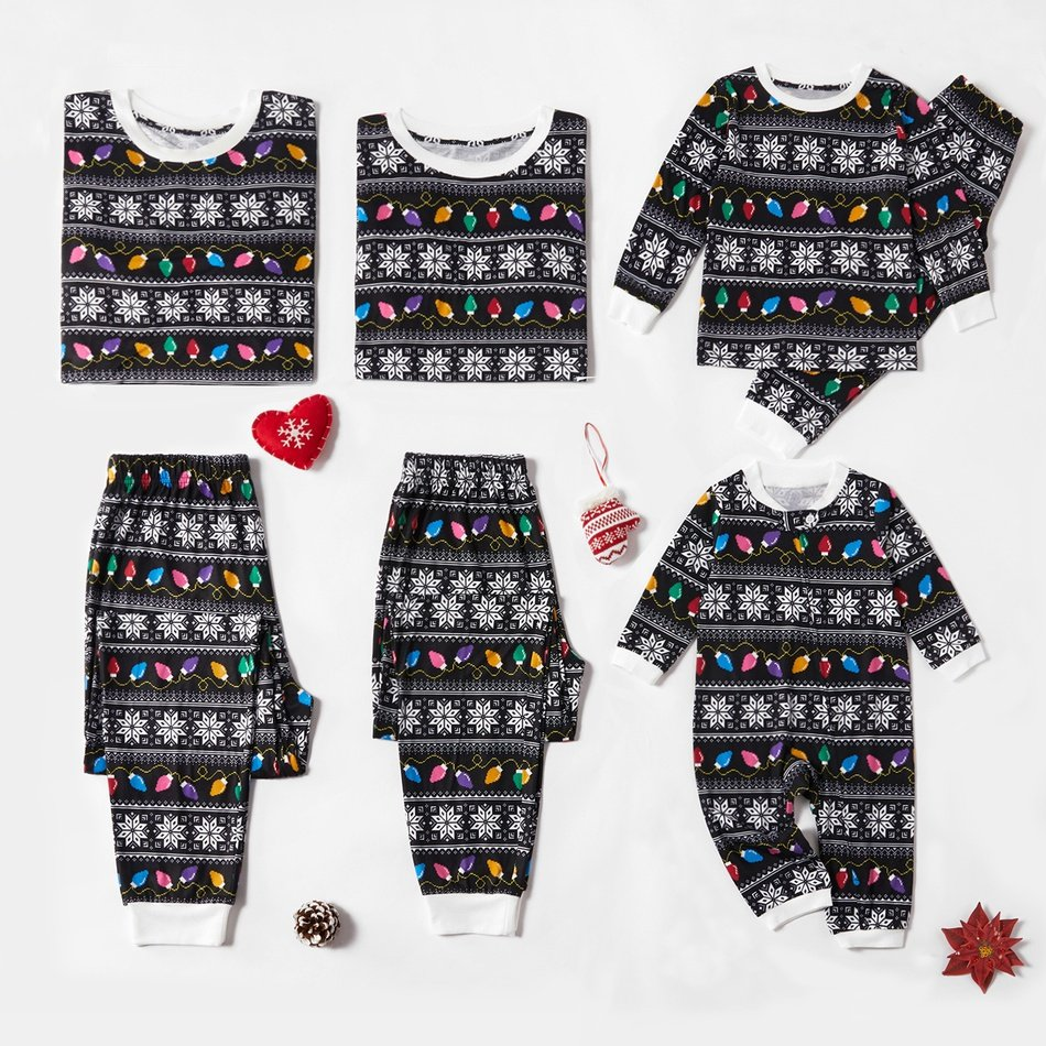 Fair Isle Christmas Lights Family Matching Holiday Pajamas