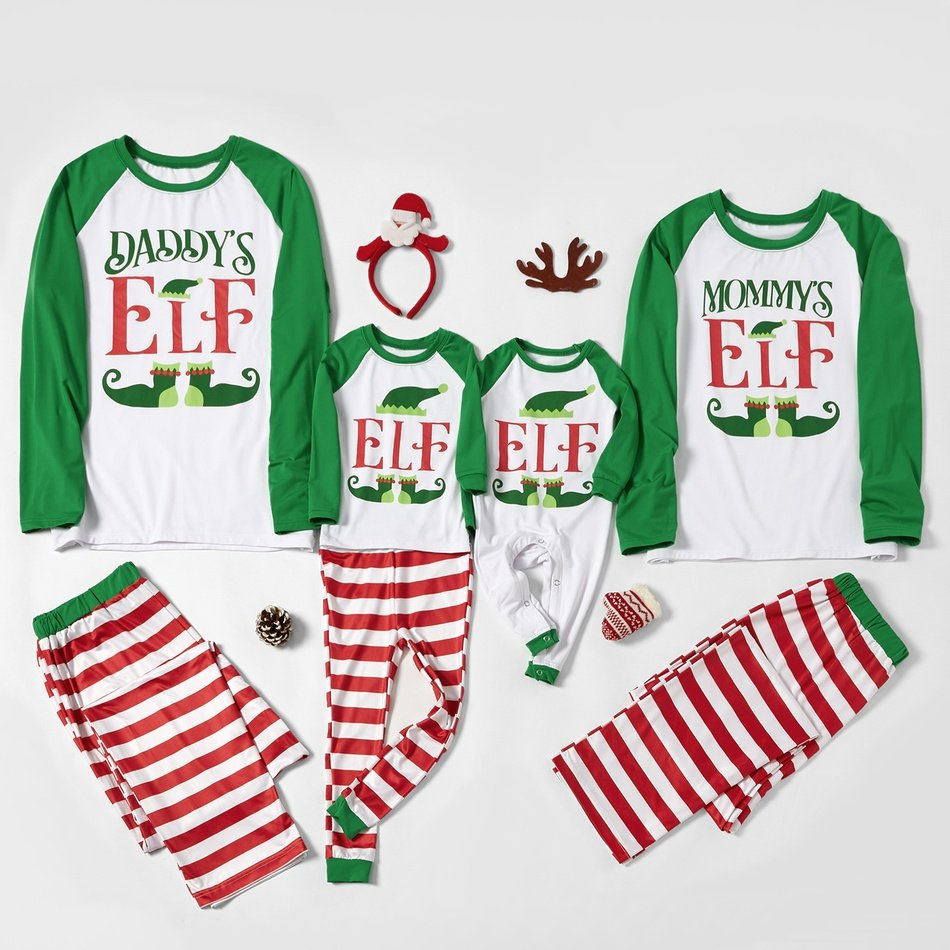 Family Elf Striped Christmas Pajamas