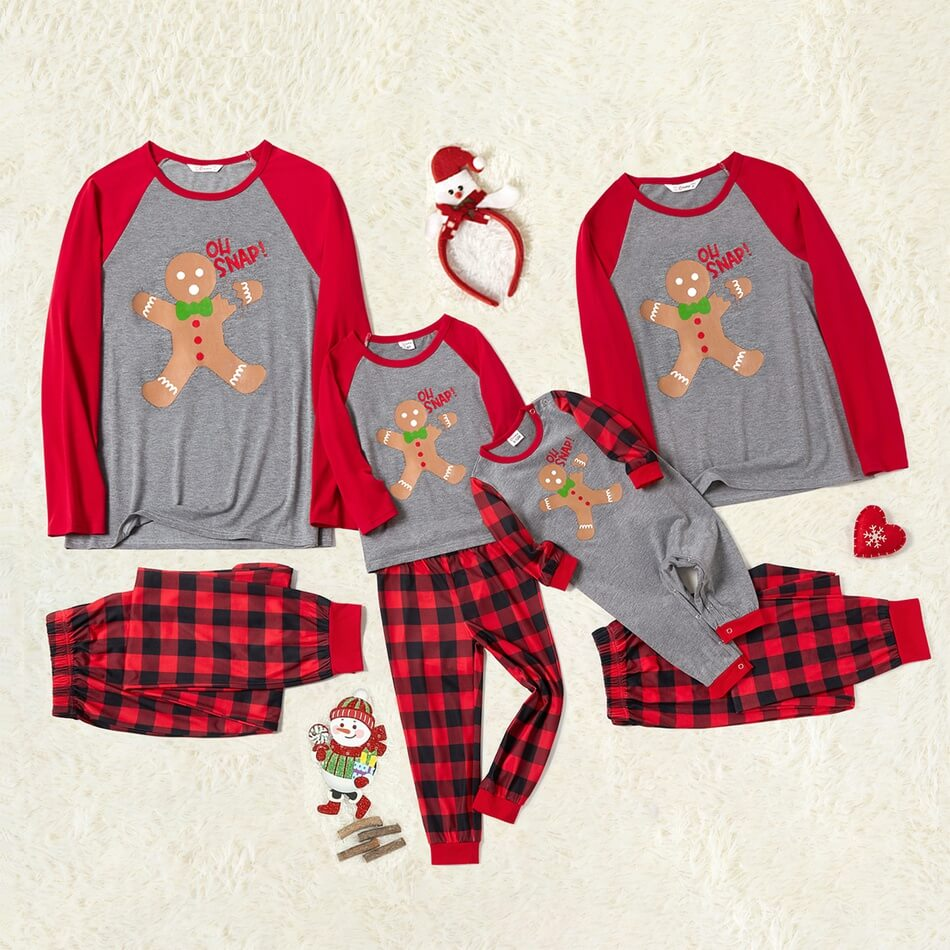 Gingerbread Man Plaid Family Matching Christmas Pajamas