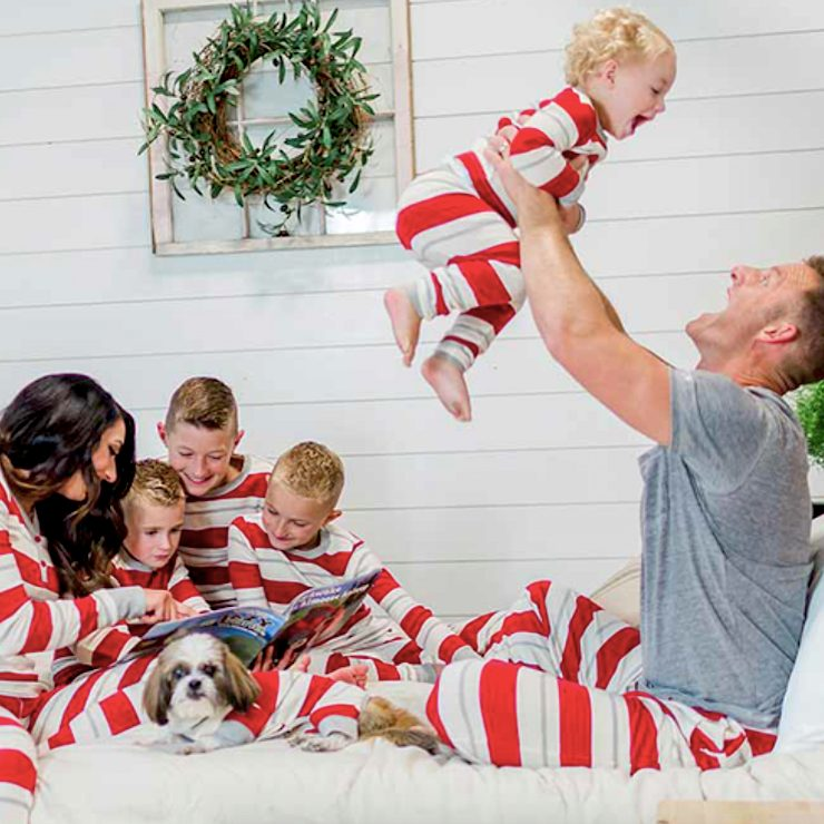 Family Matching Red Country Stripes Pajamas