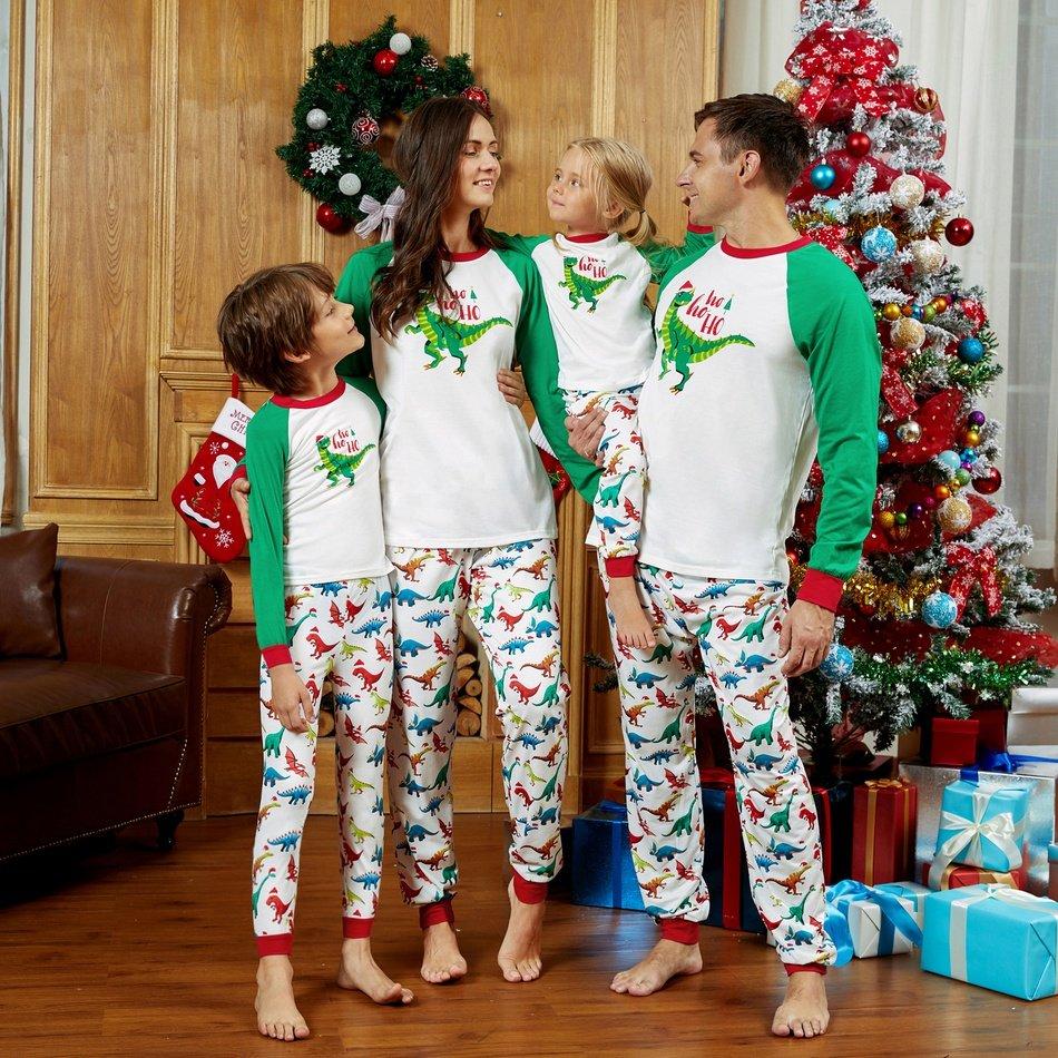 Dinosaur Print Family Matching Christmas Pajamas