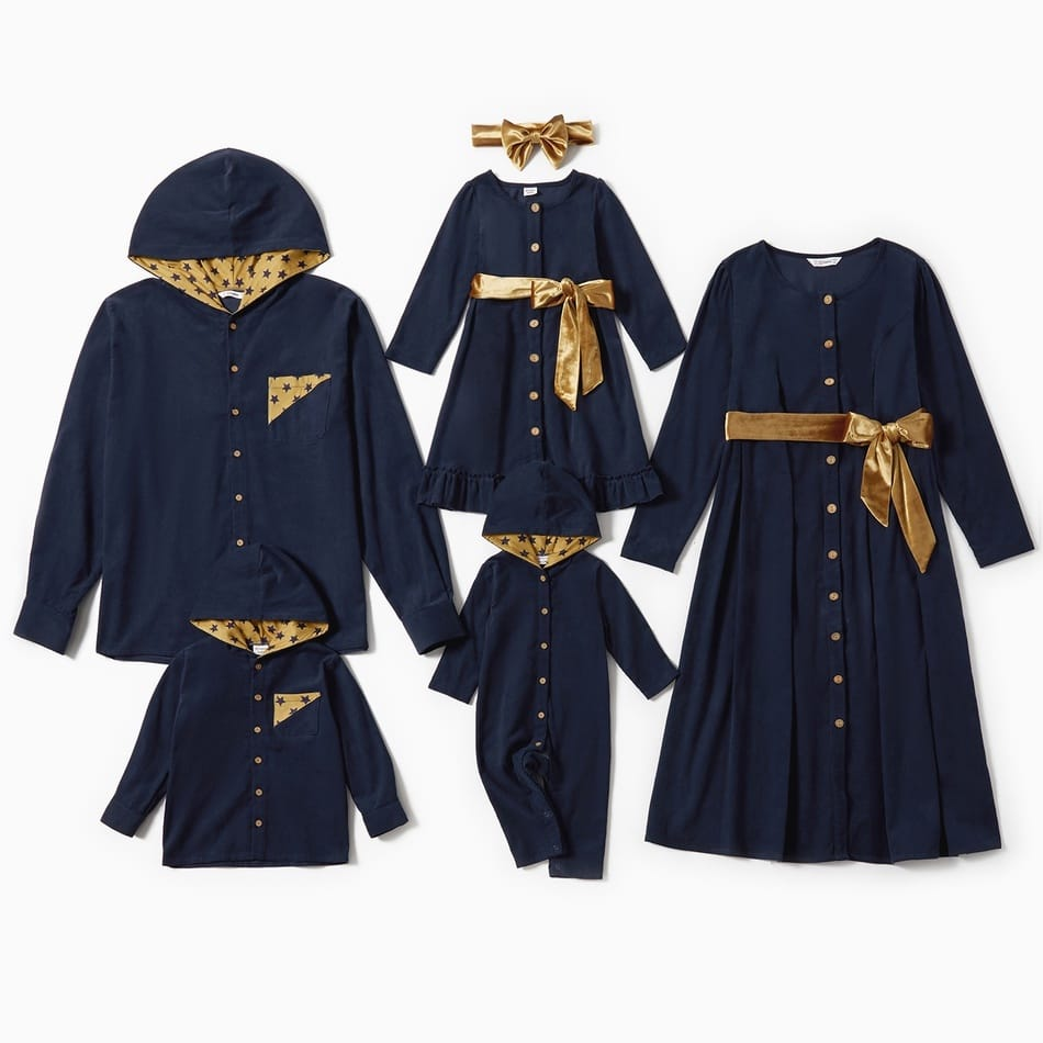 Family Matching Navy Blue and Gold Outfits