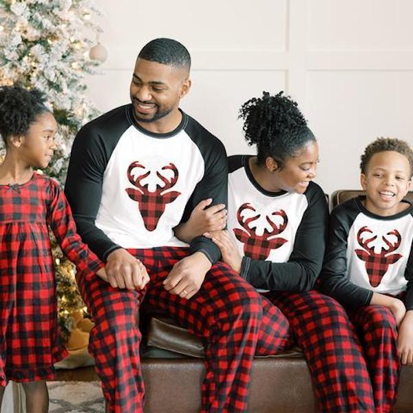 Family Matching Red Buffalo Plaid Moose PJs