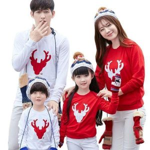 Family Matching Reindeer Christmas Sweaters