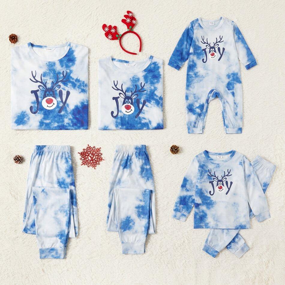 Tie Dye Reindeer Print Family Matching Christmas Pajamas