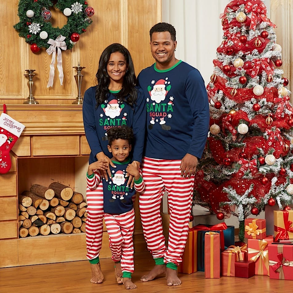 Family Matching Santa Squad Striped Christmas PJs