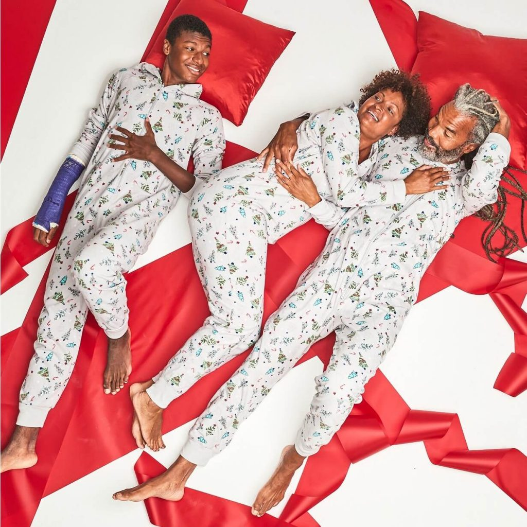 Festive Trees Onesie Matching Family Holiday Pajamas