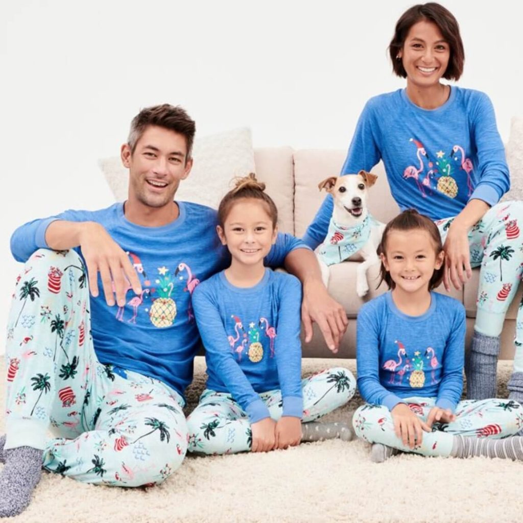 Flamingo Frost Family Holiday Pajamas