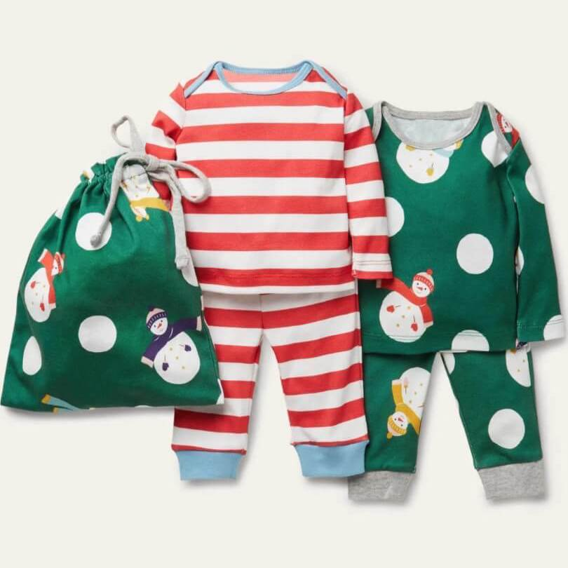 Forest Green Snowman Spot Holiday Pajamas