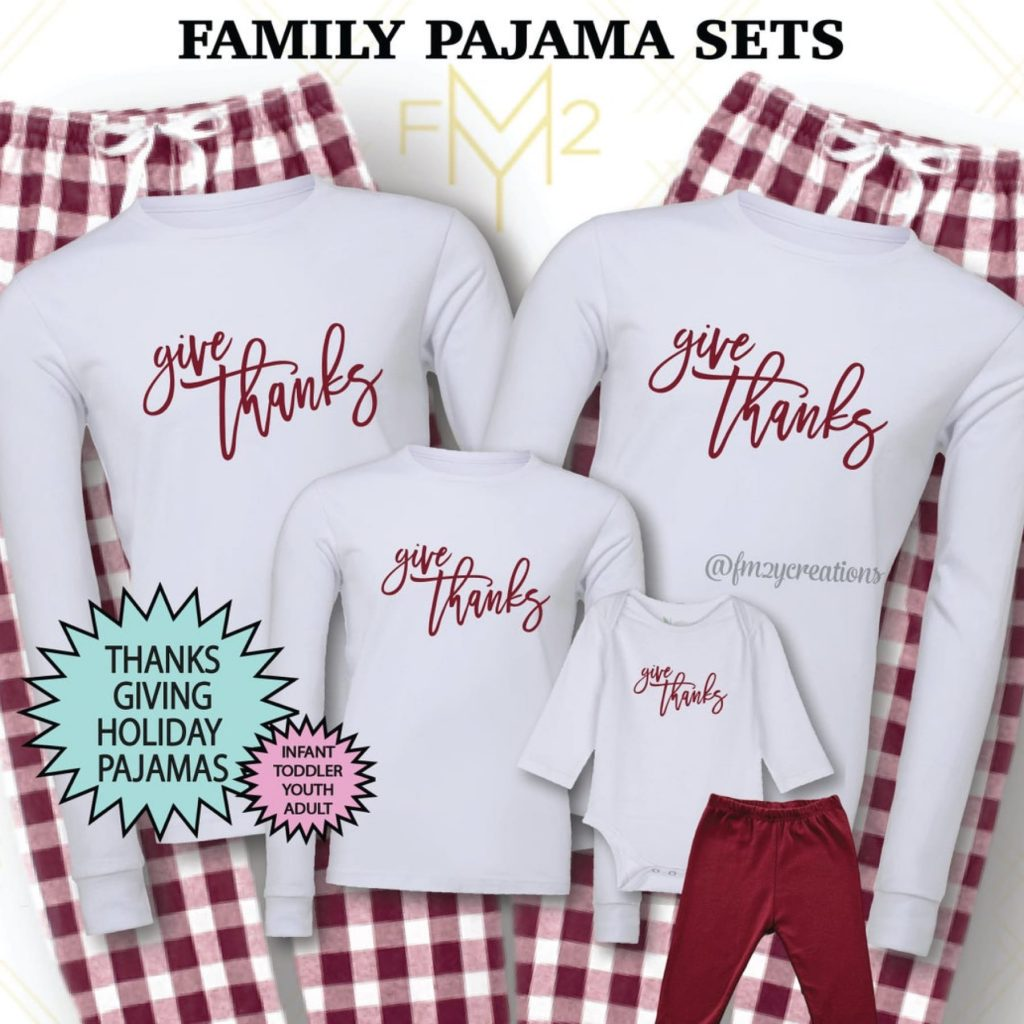 Give Thanks Family Matching Thanksgiving Pajamas