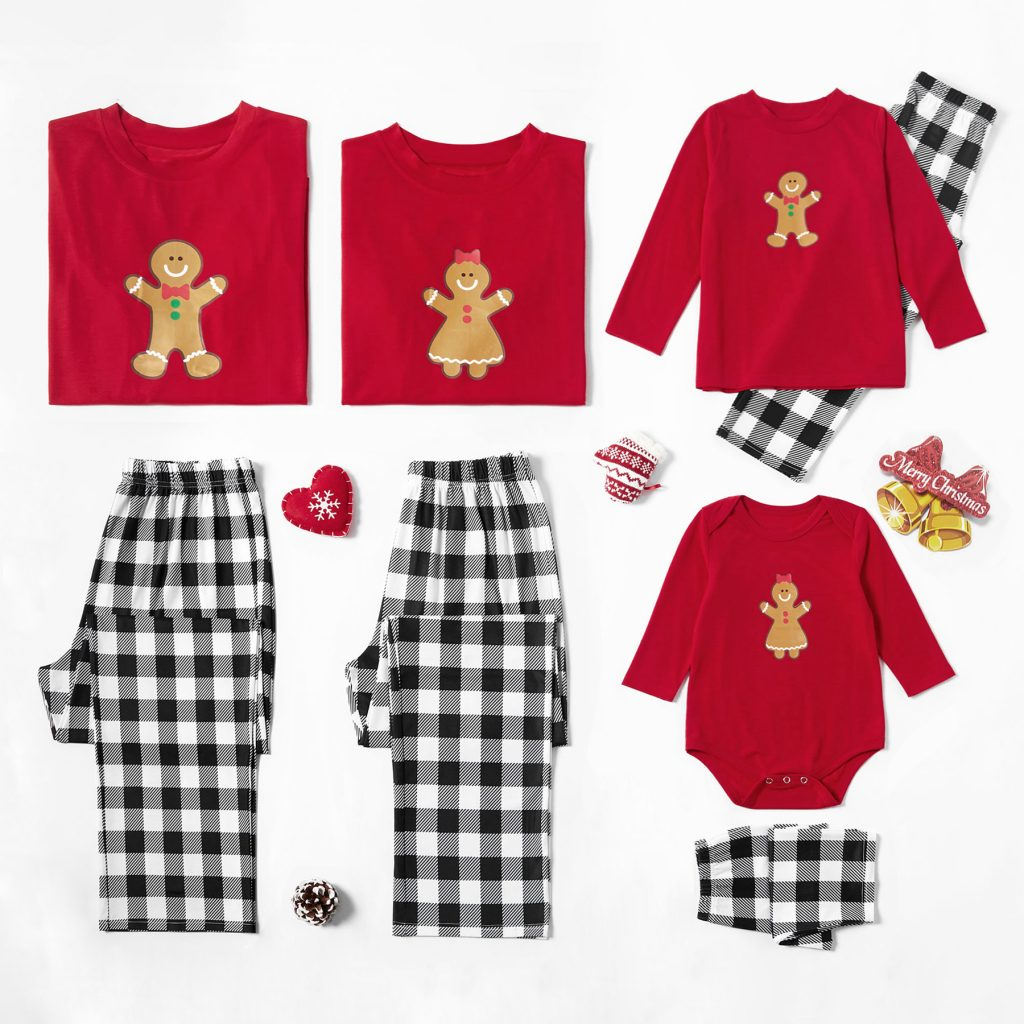 Gingerbread Buffalo Check Family Matching Christmas Pajamas