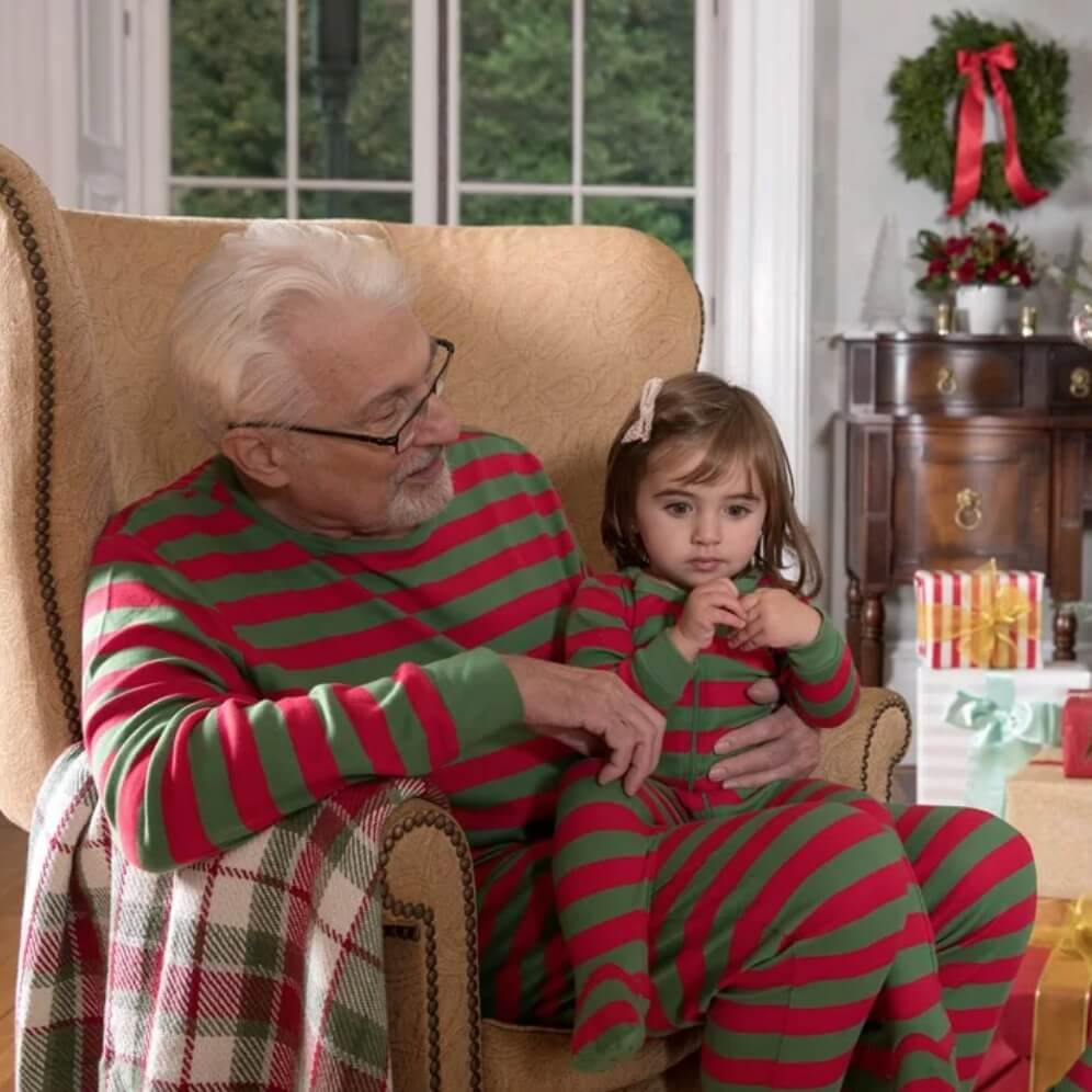 Green Red Striped Family Holiday Pajamas