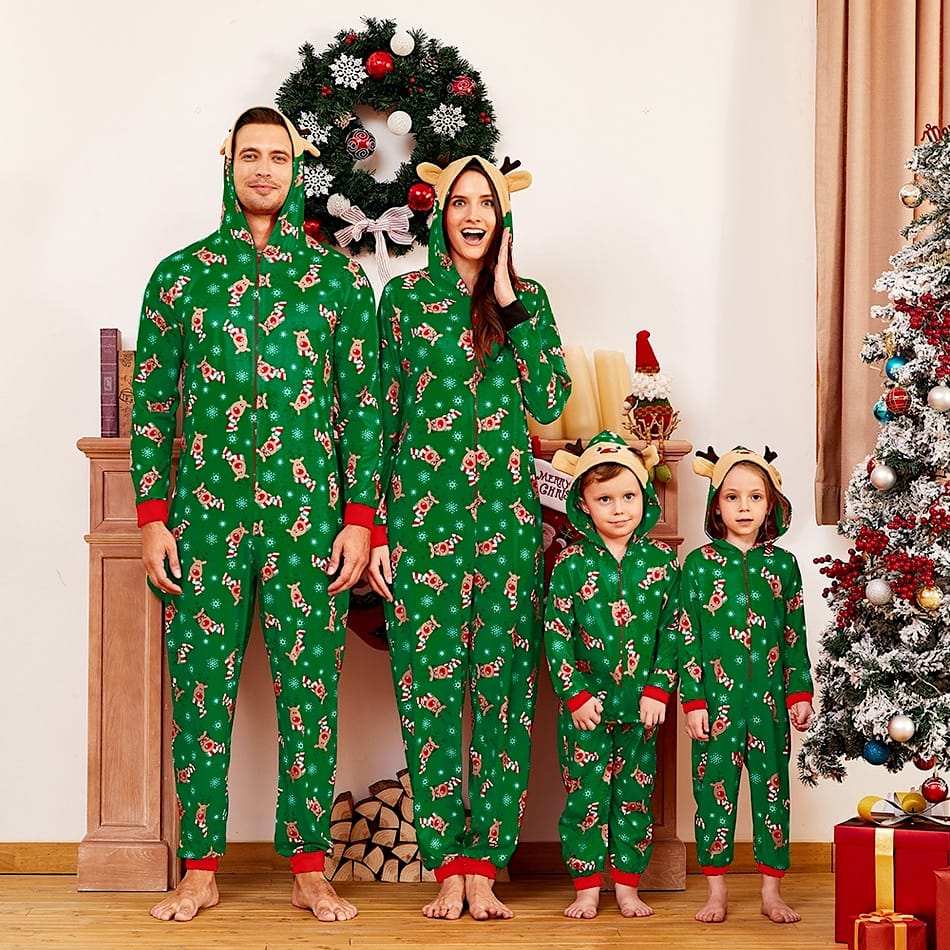 Family Matching Green Christmas Reindeer Onesies