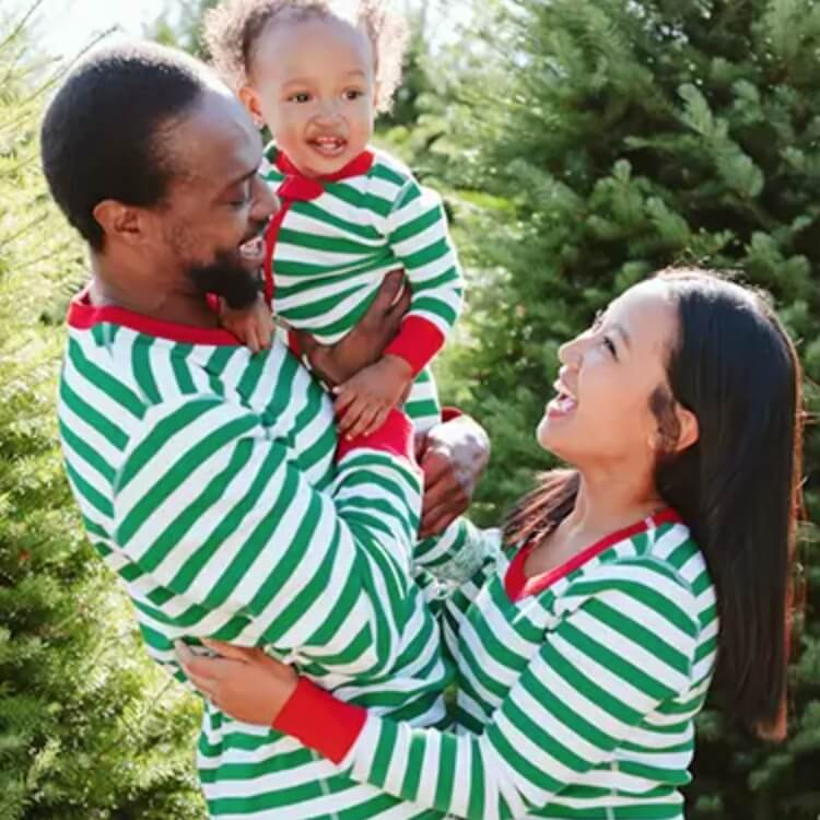 Green Striped Family Holiday Pajamas