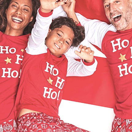 Ho Ho Ho and Ornament Print Family Matching Christmas PJs
