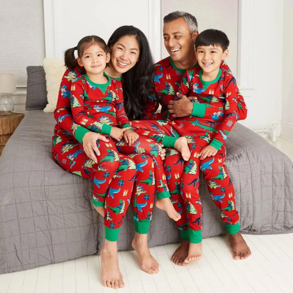 Holiday Dinosaur Matching Family Pajamas