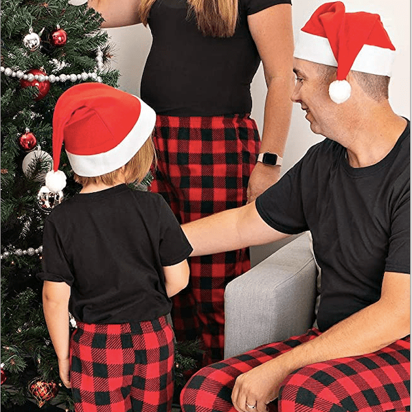 Matching Family Plaid Christmas Pajamas Pants and Santa Hat Set