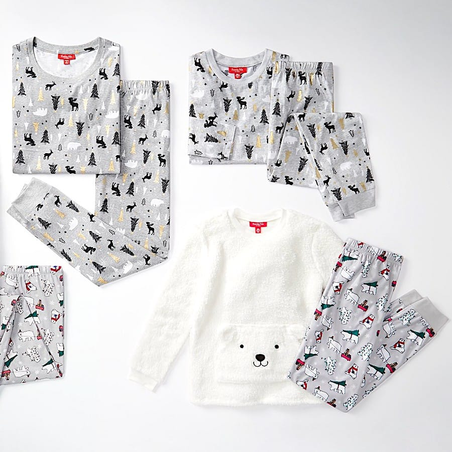 Polar Bears and Woodland Print Family Matching Holiday Pajamas