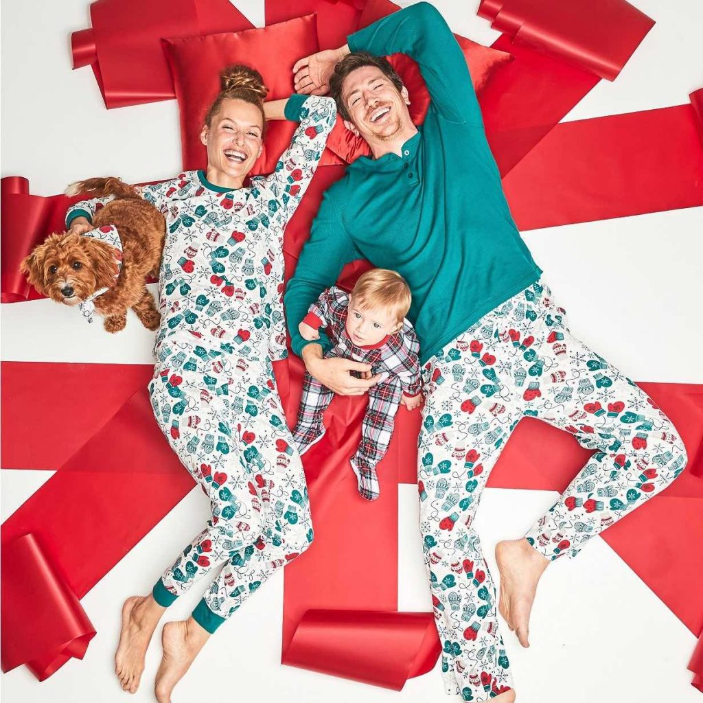 Mittens Matching Family Holiday Pajamas