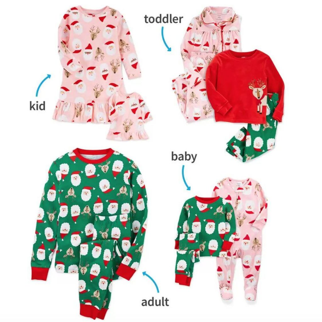 Multicolor Santa Family Matching Christmas Pajamas