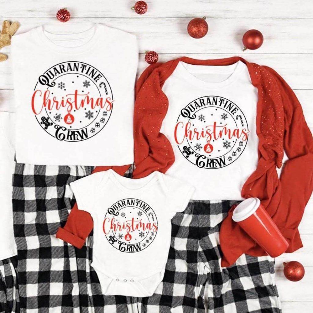 Quarantine Christmas Crew Family Holiday Pajamas