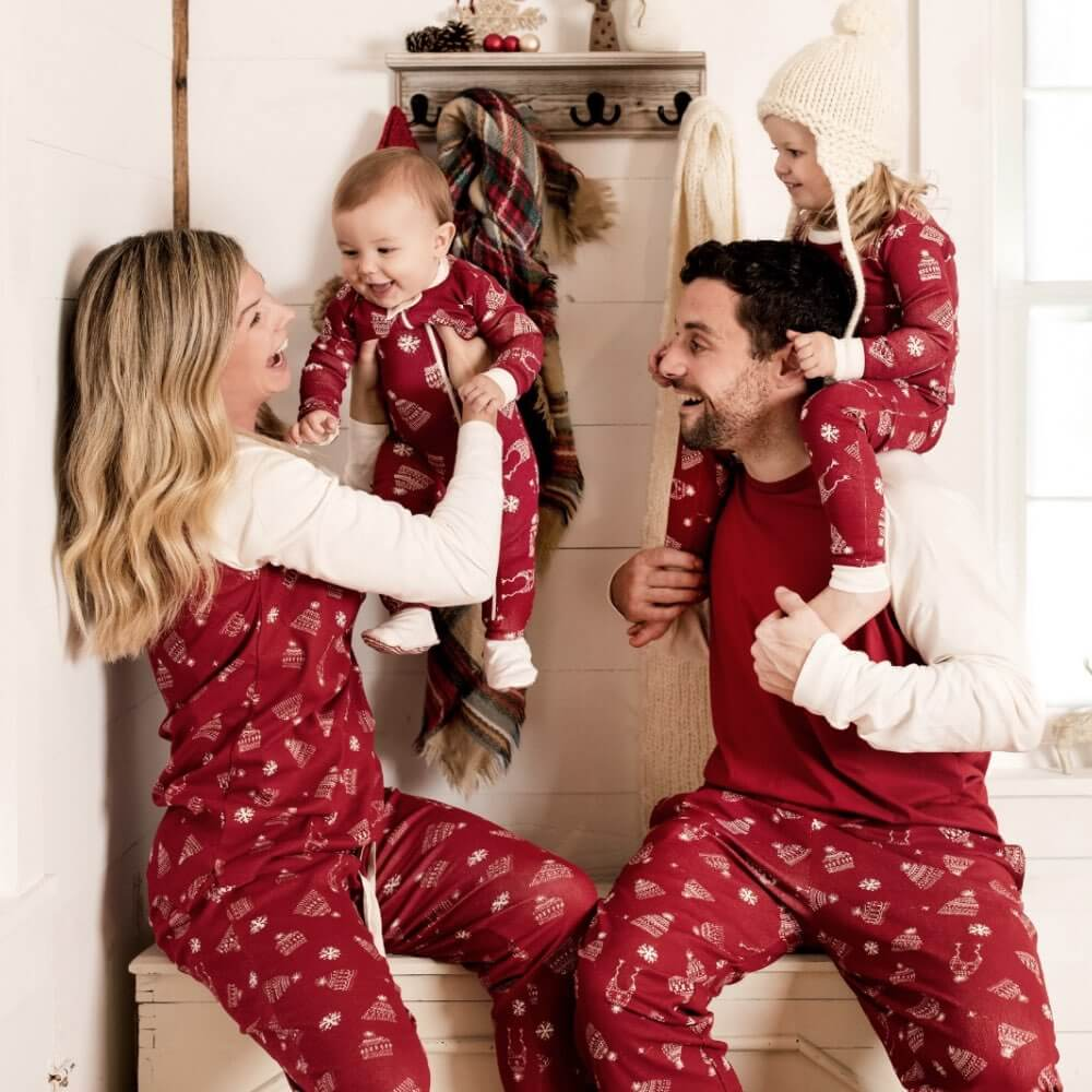 Red Hats Off Organic Cotton Holiday Family Pajamas