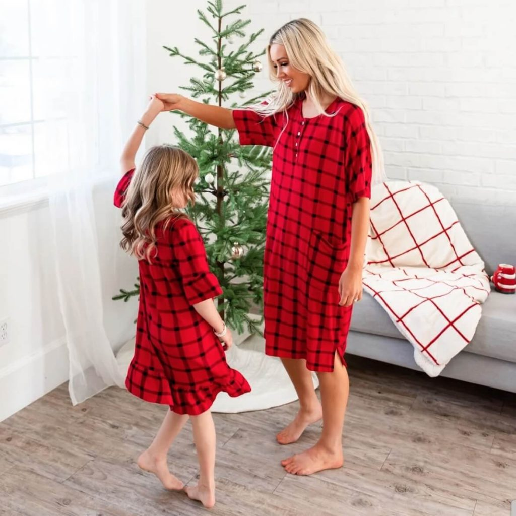 Red Plaid House Dress Family Holiday Pajamas