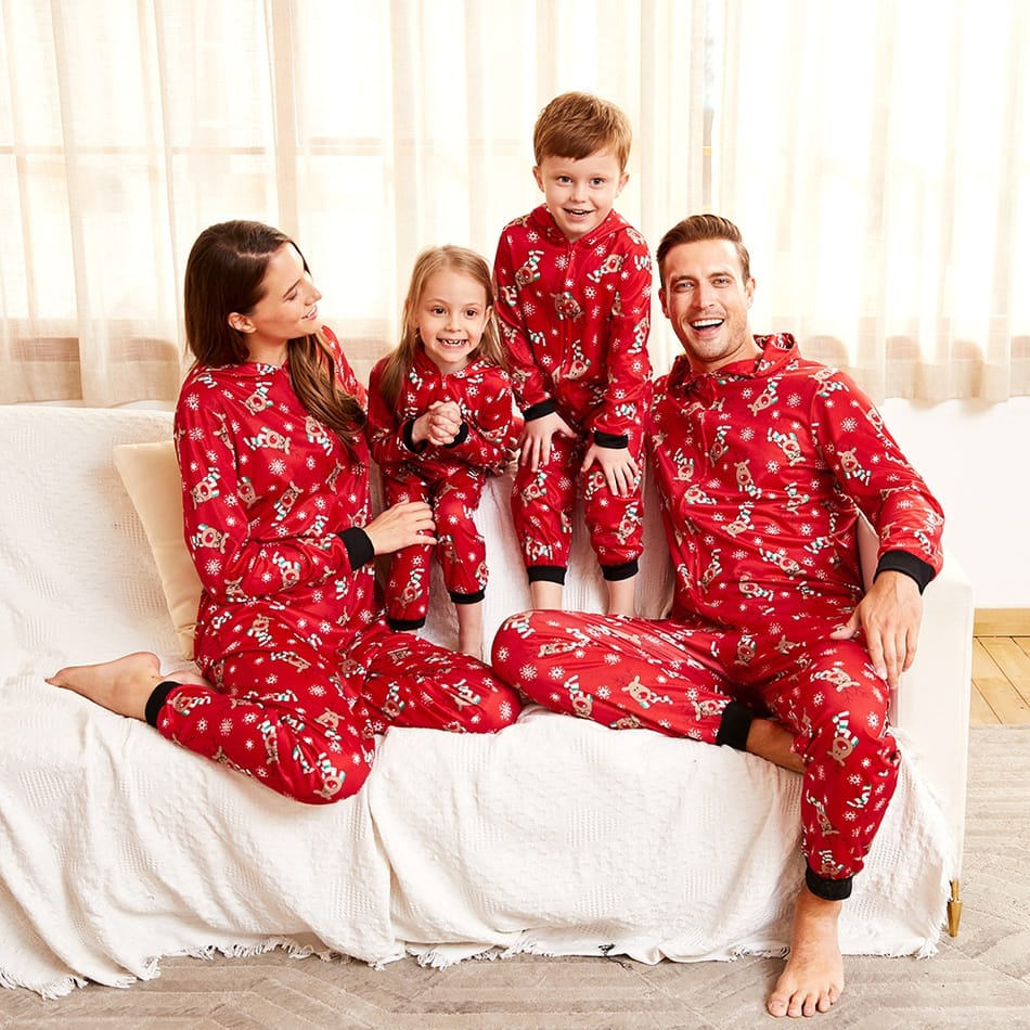Family Matching Red Christmas Reindeer Onesies