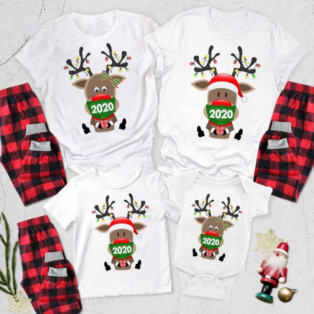 2020 Reindeer Santa Wear Mask Quarantine Family Holiday Pajamas