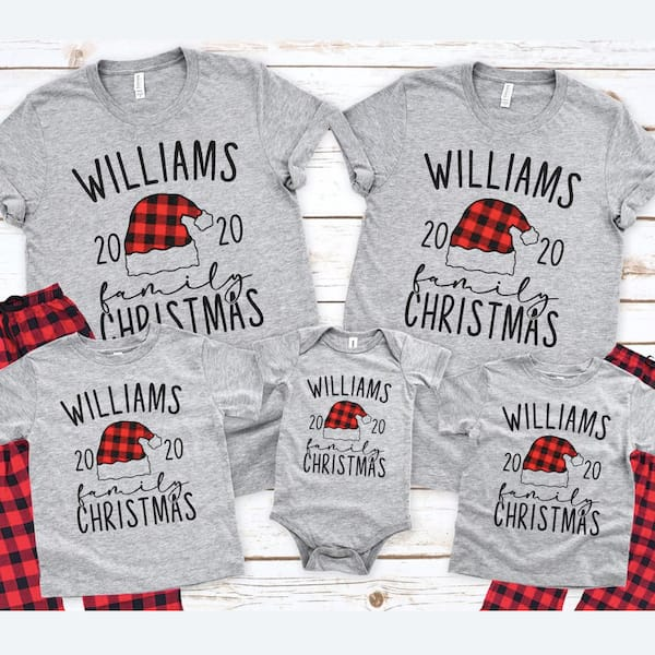 Santa hat Buffalo Plaid Custom Family Holiday PJs