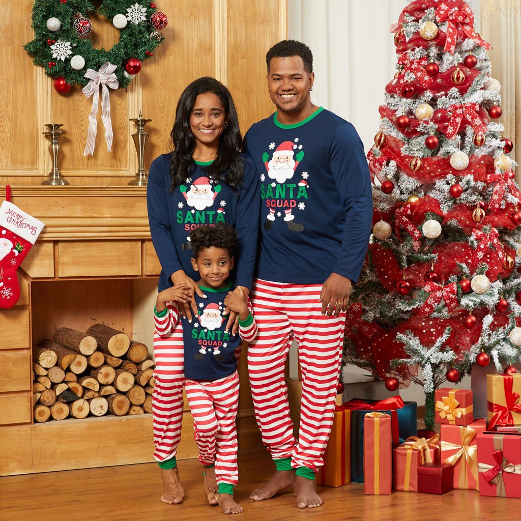 Santa Squad Striped Family Matching Christmas Pajamas