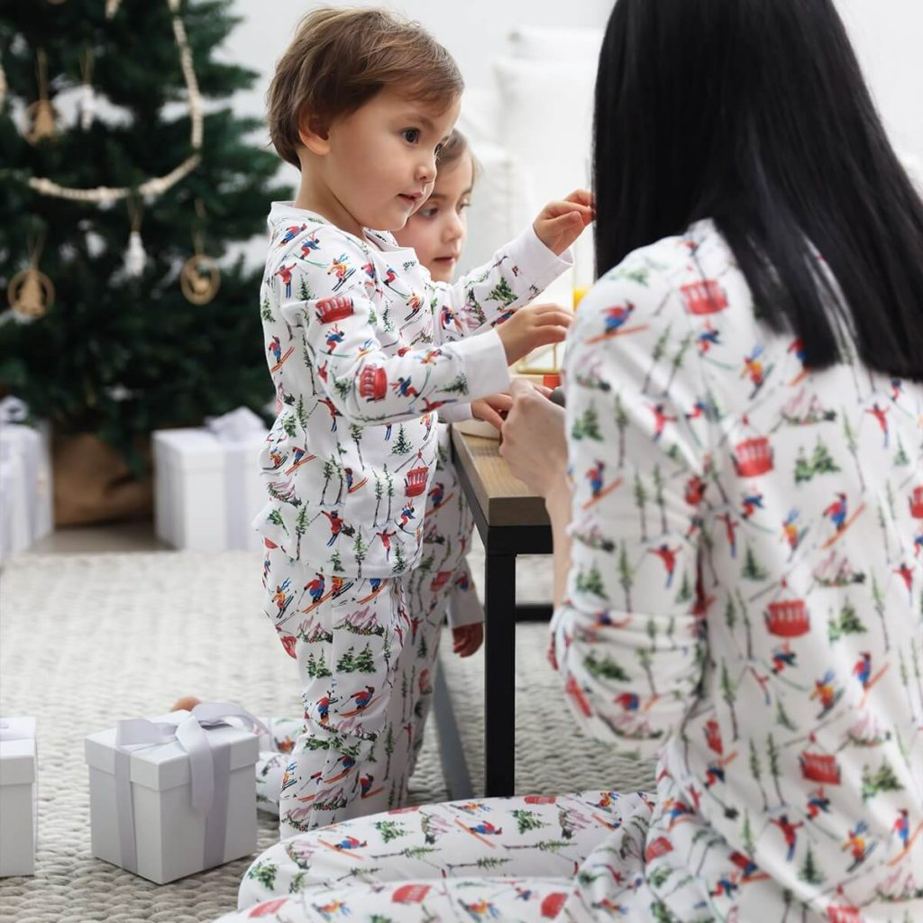 Skiers Organic Family Holiday Pajamas