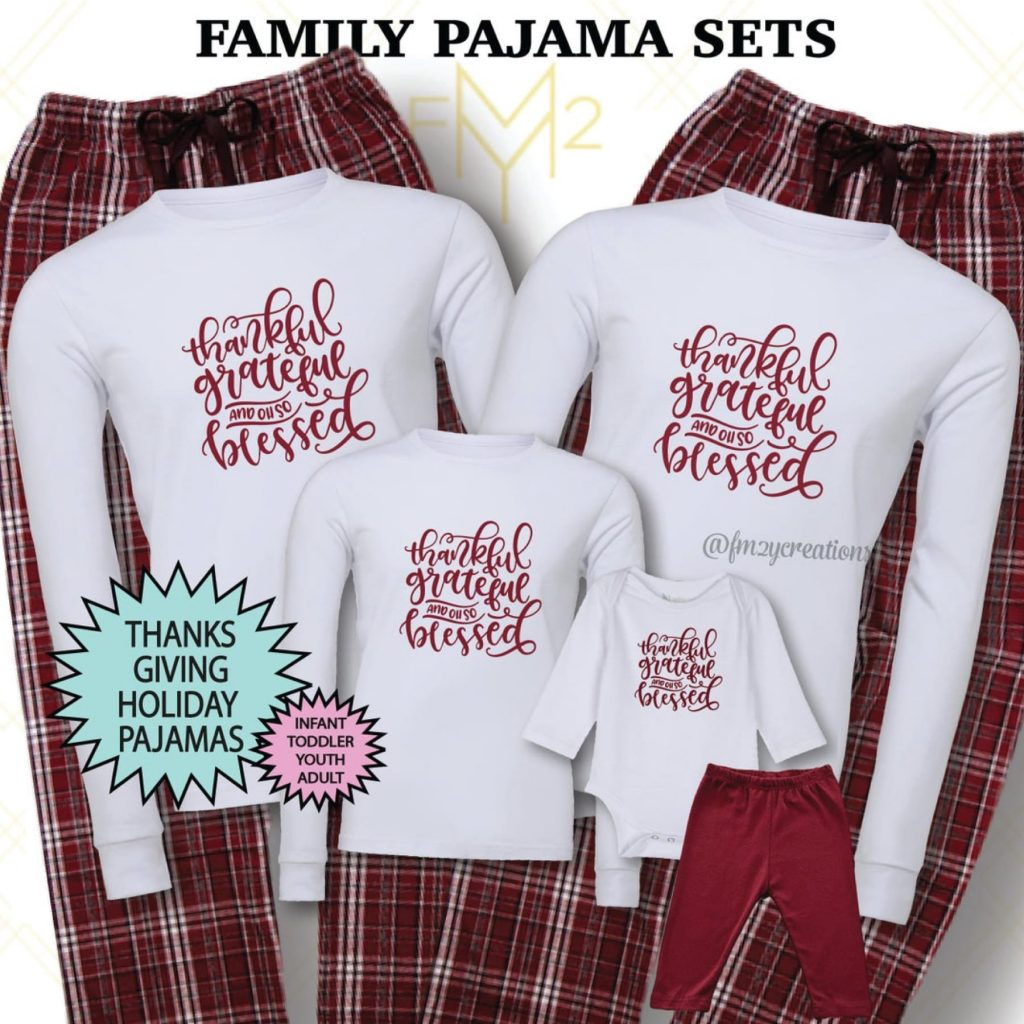 Thankful, Grateful & Blessed Family Matching Thanksgiving Pajamas