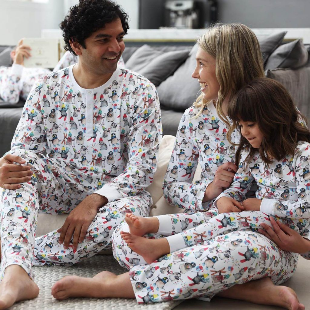 Winter Penguin Organic Holiday Family Pajamas
