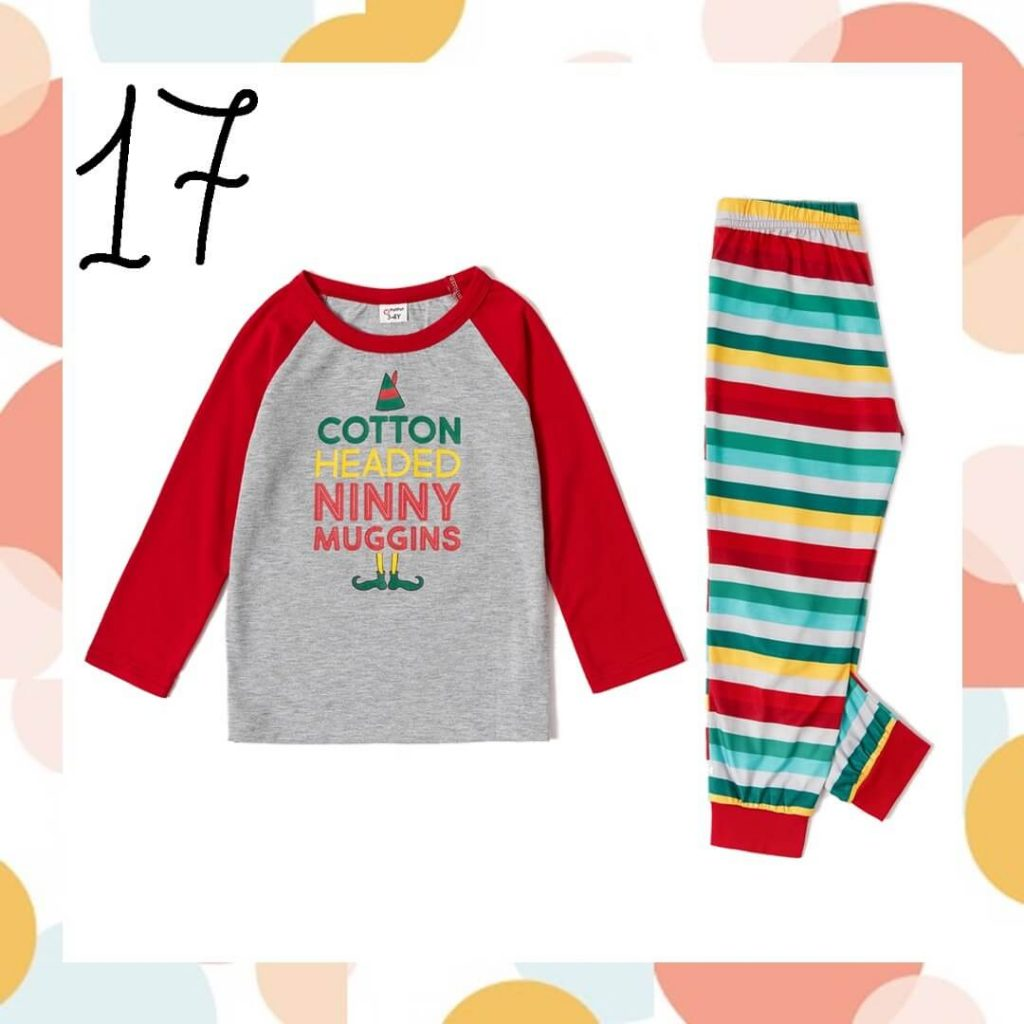 Letter Top and Striped Pants Family Holiday Pajamas