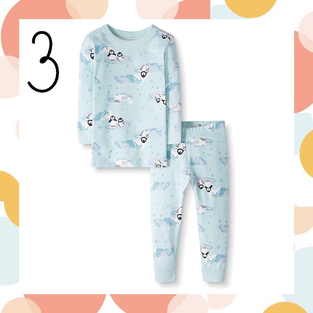 Moon and Back Penguins Matching Family Holiday Pajamas