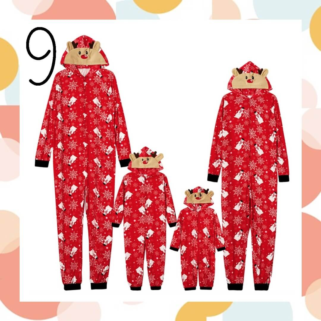 Reindeer Snowman Onesie Matching Family Holiday Pajamas