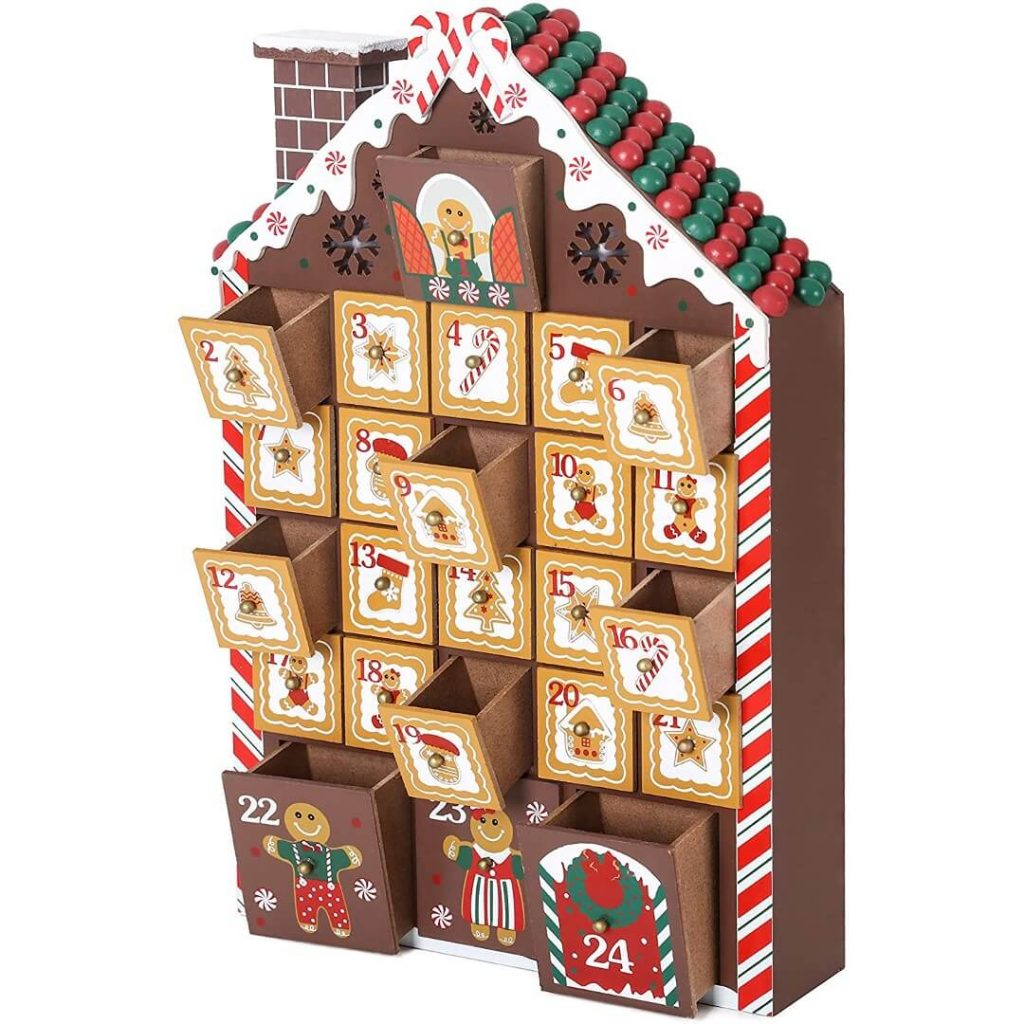 Reusable Wooden Gingerbread House Advent Calendar